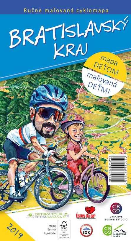Maľovaná cyklomapa pre deti CBS Bratislavský kraj - skladaná