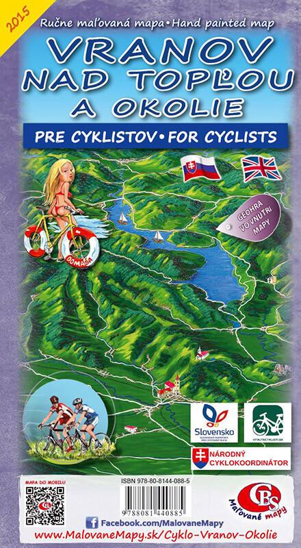 Maľovaná cyklomapa CBS Vranov nad Topľou a okolie - skladaná