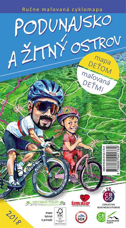 Maľovaná cyklomapa pre deti CBS Podunajsko a Žitný ostrov - skladaná