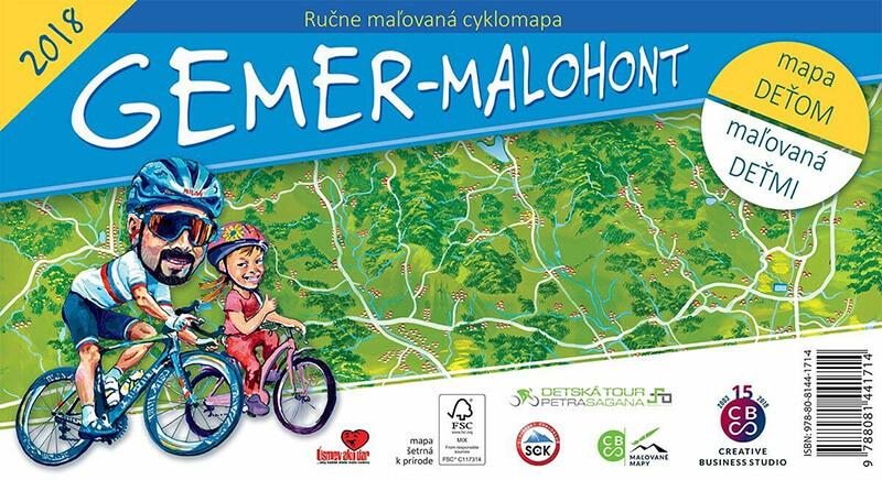 Maľovaná cyklomapa pre deti Gemer - Malohont - skladaná