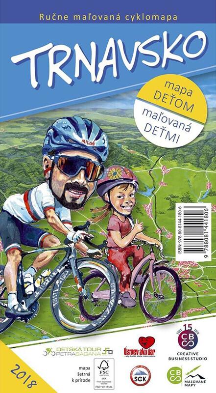 Maľovaná cyklomapa pre deti CBS Trnavsko - skladaná