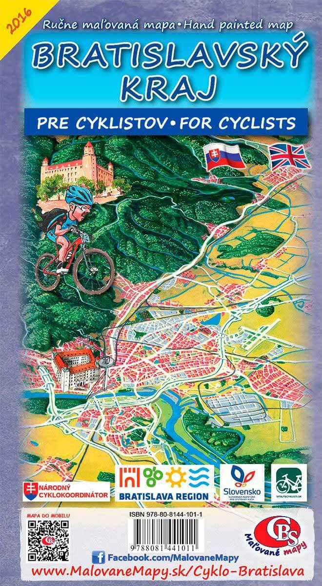 Maľovaná cyklomapa CBS Bratislavský kraj pre cyklistov - skladaná
