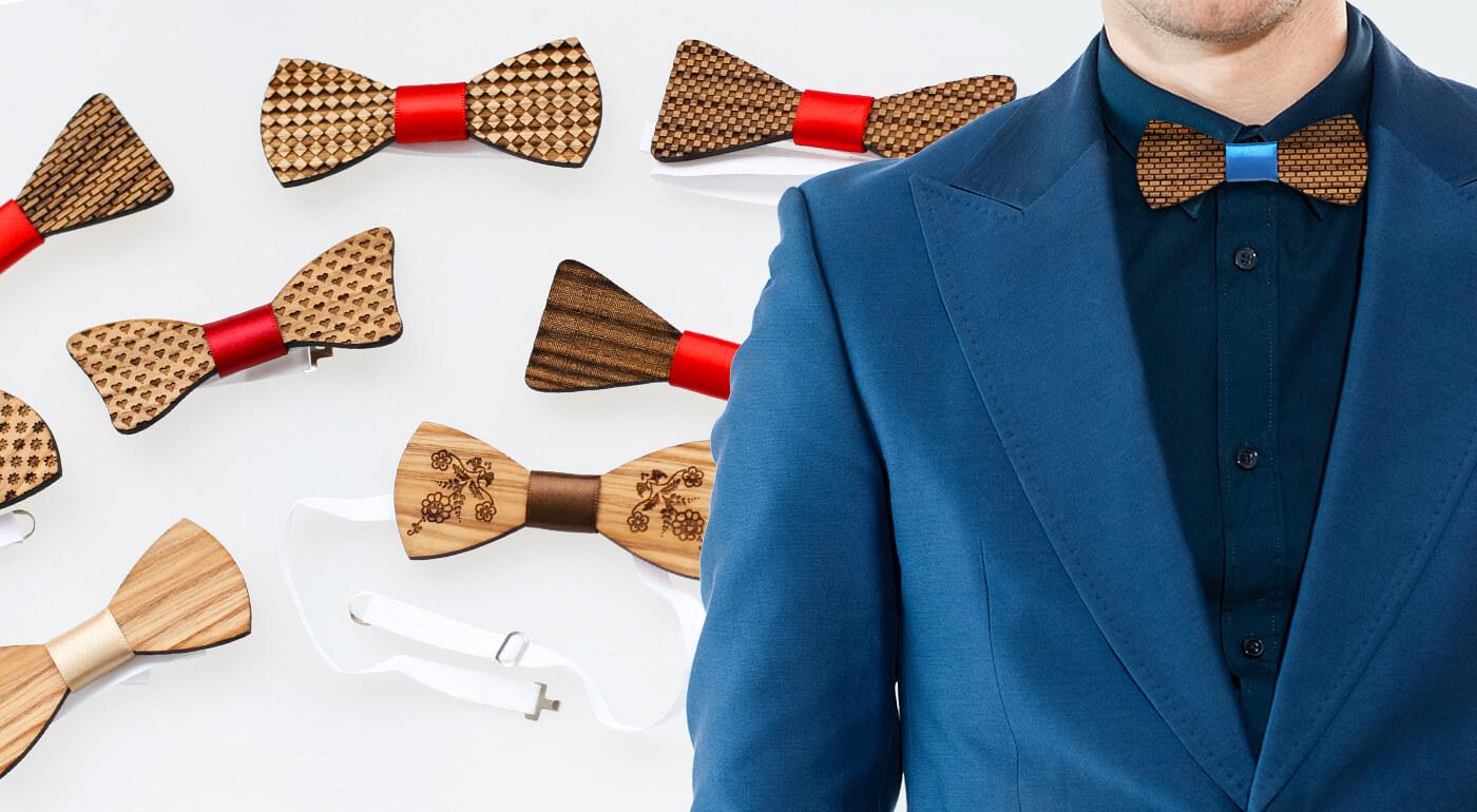 Ručne vyrobený drevený motýlik pre pánov - v ponuke už aj výhodný set s dámskou sponou a manžetovými gombíkmi!