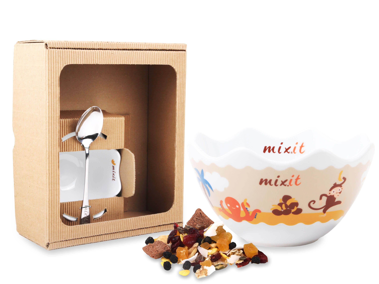 Detská miska s lyžičkou MIXIT v darčekovej krabici (bez tubusu)