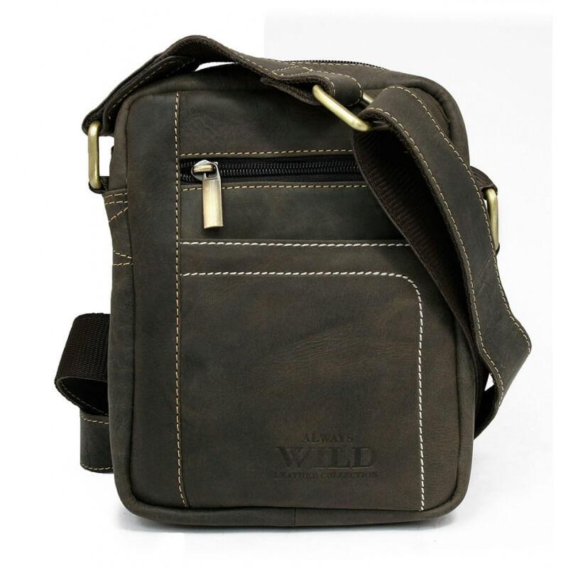 Pánska celokožená taška Always Wild model 2 farba sivo-hnedá
