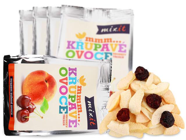 MIXIT Chrumkavé ovocie do vrecka Broskyňa a čerešňa 20 g