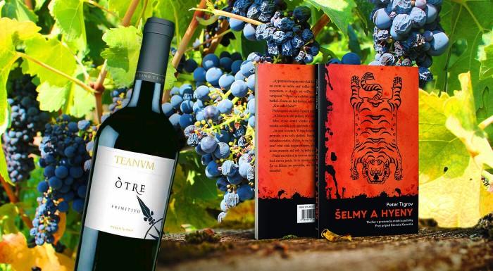 Víno Primitivo Òtre s knihou Šelmy a hyeny
