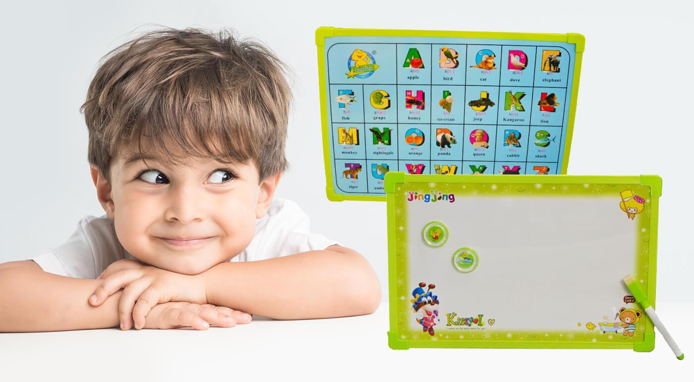 Detská tabuľka na kreslenie - magnetická, s perom a magnetkami alebo pečiatkami v balení