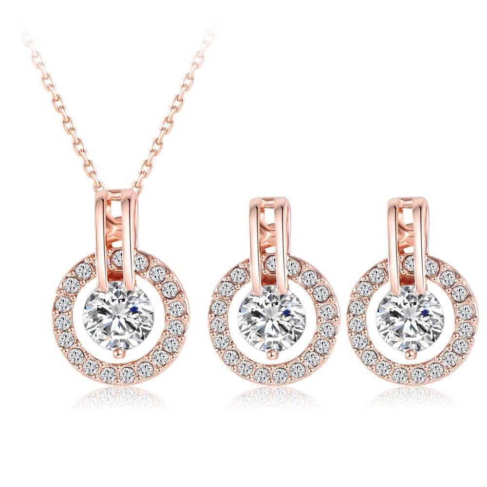 Set náušníc a náhrdelníka Jenny so žiarivými kubickými zirkónmi najvyššej kvality