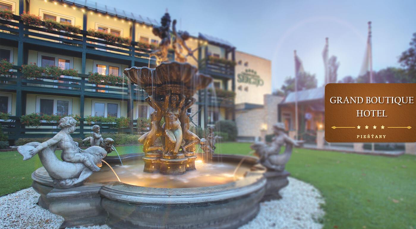 Letný pobyt v Grand Boutique Hoteli Sergijo**** Piešťany s polpenziou a neobmedzeným wellness pre dvoch