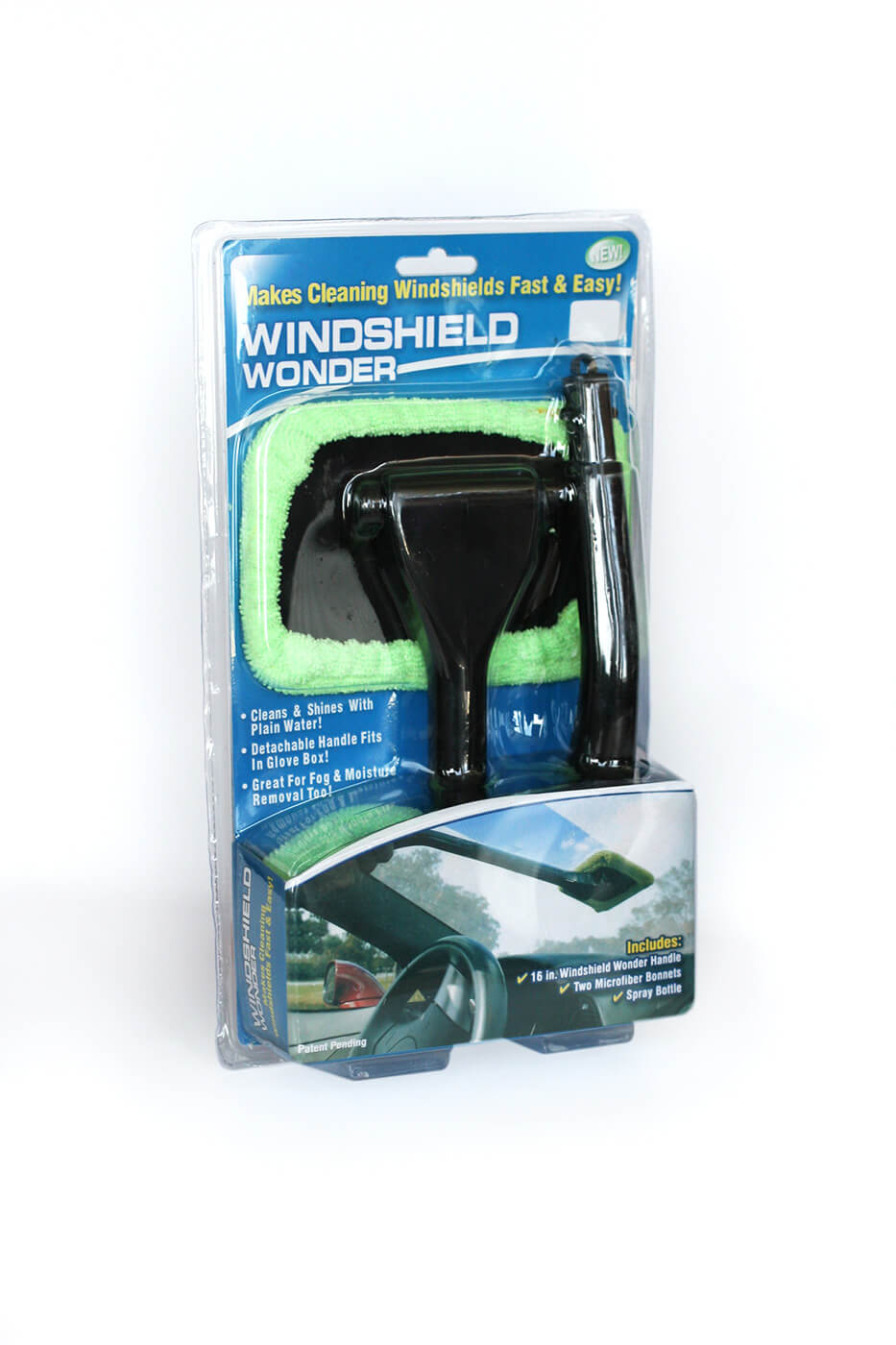 Windshield Wonder Stierka na čistenie skiel s rúčkou, sprejovou fľašou a 2 utierkami z mikrovlákna - zelená