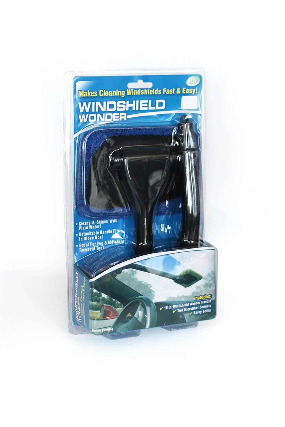 Windshield Wonder Stierka na čistenie skiel s rúčkou, sprejovou fľašou a 2 utierkami z mikrovlákna - modrá