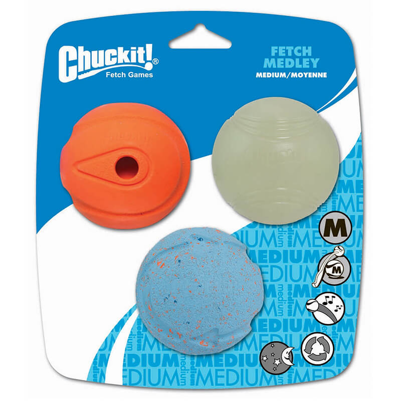 Chuckit! Medley Medium loptičky (priemer 6,5 cm) 3 kusy