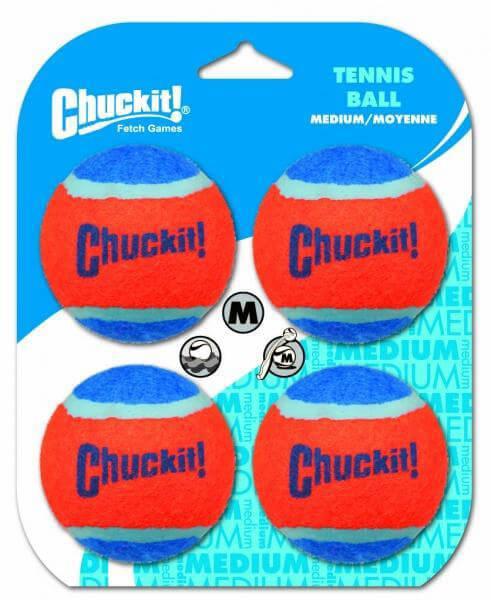 Tenisová loptička pre psa Chuckit! 4 kusy - veľkosť M (priemer 6,5 cm)