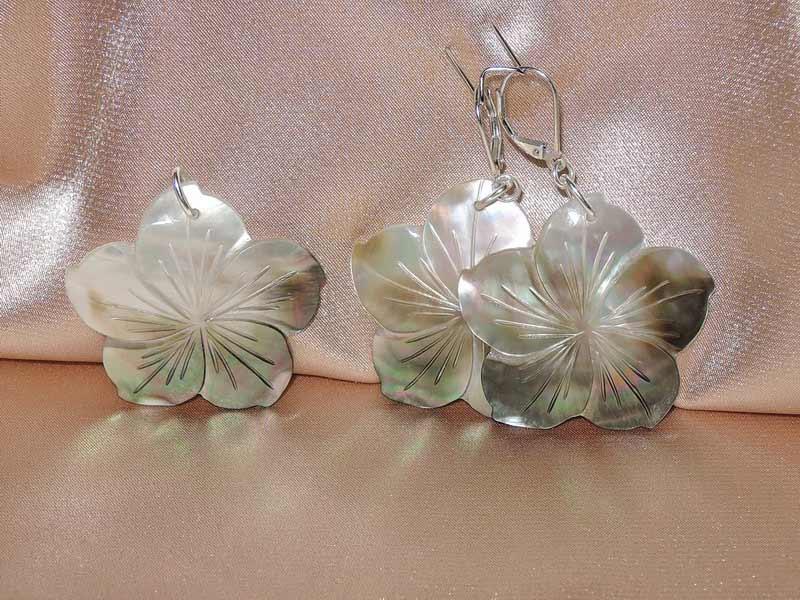 Set náušnice a prívesok z lastúry perlorodky