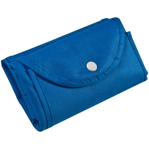 Eko taška z netkaného textilu rozmery 30x40x10 cm - modrá skladacia