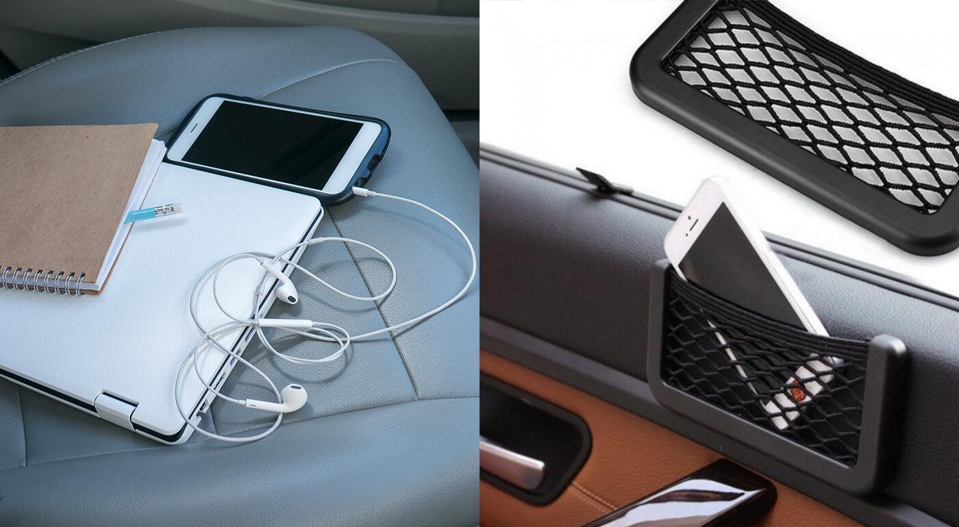 Odkladacia sieťka do auta - praktický organizér na drobnosti na palubnú dosku či dvere auta
