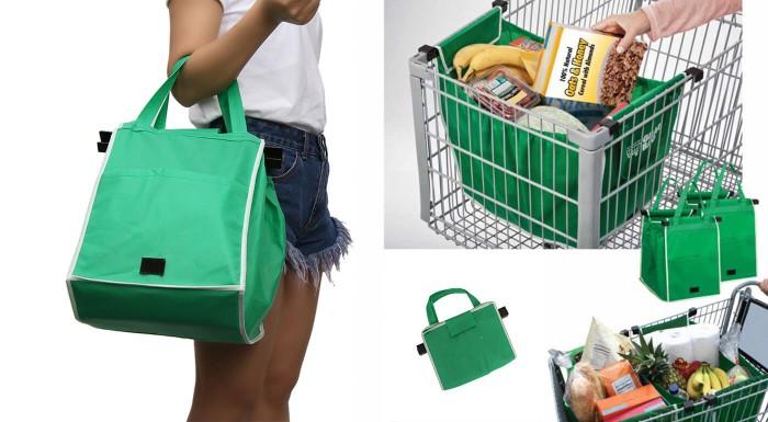 Zjednodušte si nakupovanie s taškou Grab Bag! Jednoducho ju pripevníte do vozíka a nákup môžete ukladať priamo do nej. V balení máte až 2 kusy odolných textilných tašiek.