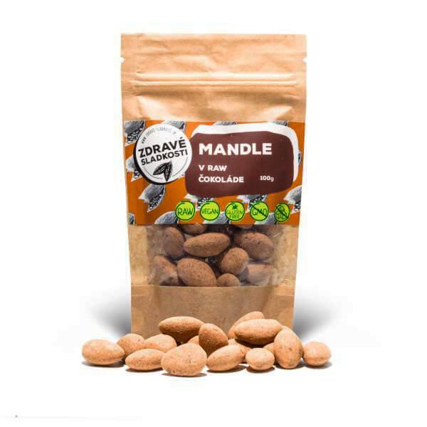 Zdravé sladkosti Mandle v raw čokoláde 100 g