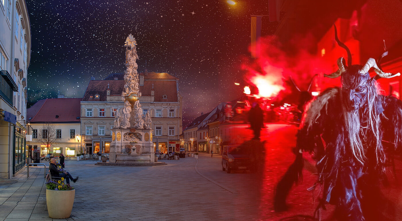 Adventné Rakúsko: 1-dňový zájazd do mestečka Baden s tradičným sprievodom čertov