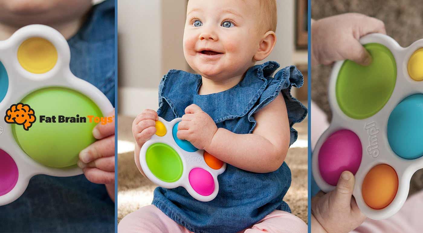 Najmenšie deti budú milovať senzorickú hračku Dimpl! Je to dokonalé zmyslové dobrodružstvo v podobe silikónových bublín, ktoré sa dajú všelijako stláčať a sú krásne farebné. Vhodné od 6 mesiacov!