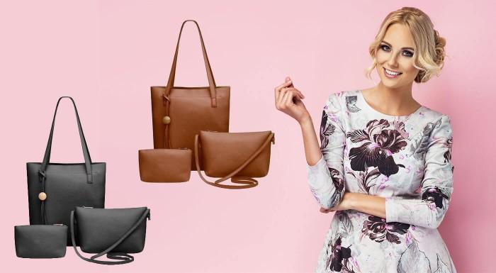 Zľava 35%: Každá dáma vie, že kabeliek nikdy nie je dosť. Výborná voľba pre všetky praktické ženy je sada kabeliek, ktorá obsahuje tašku na rameno, do ruky a kozmetickú taštičku v jednom dizajne.