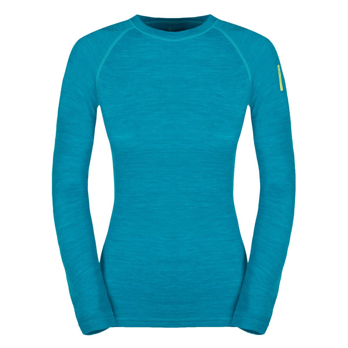 Dámske tričko Zajo Nora Merino W T-shirt LS Enamel Blue - veľkosť XS