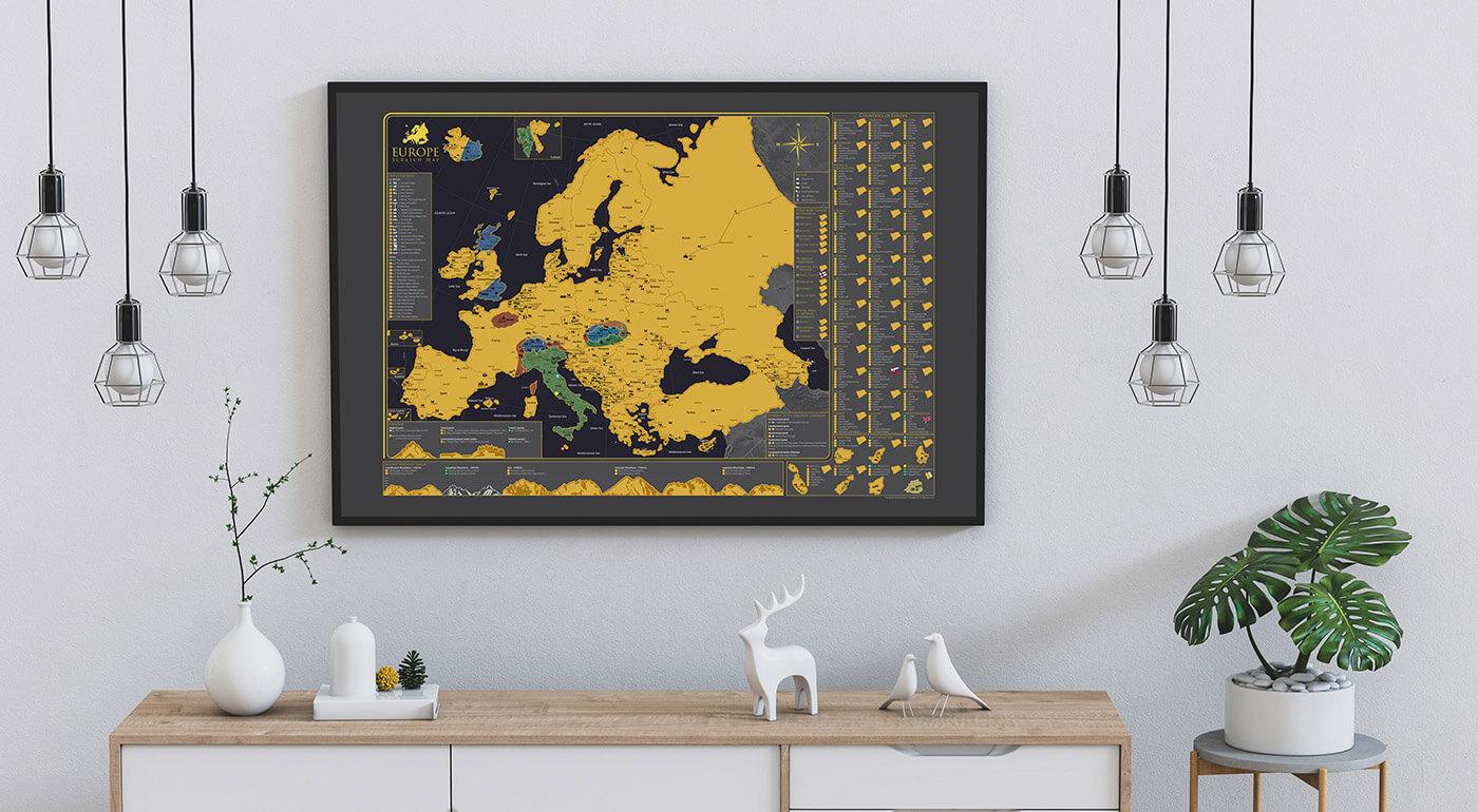 Najpodrobnejšia stieracia mapa Európy - spoznávajte Starý kontinent a svoje cesty si značte na svoju mapu. Ideálny darček aj pre vašich blízkych.