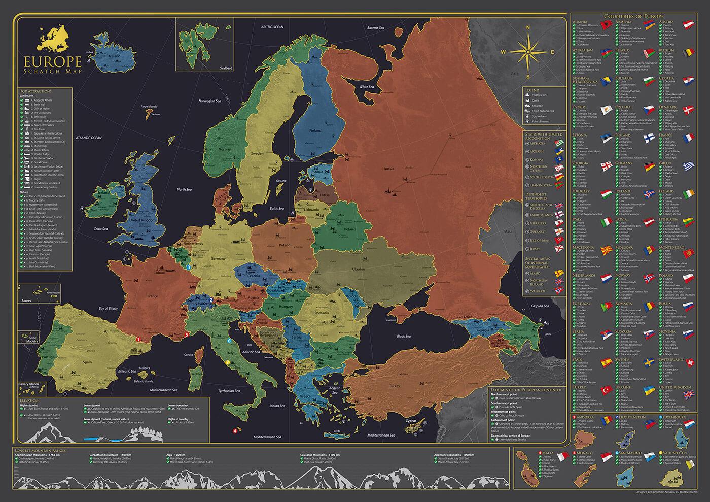 Nástenná mapa Európy - poster bez stieracej fólie