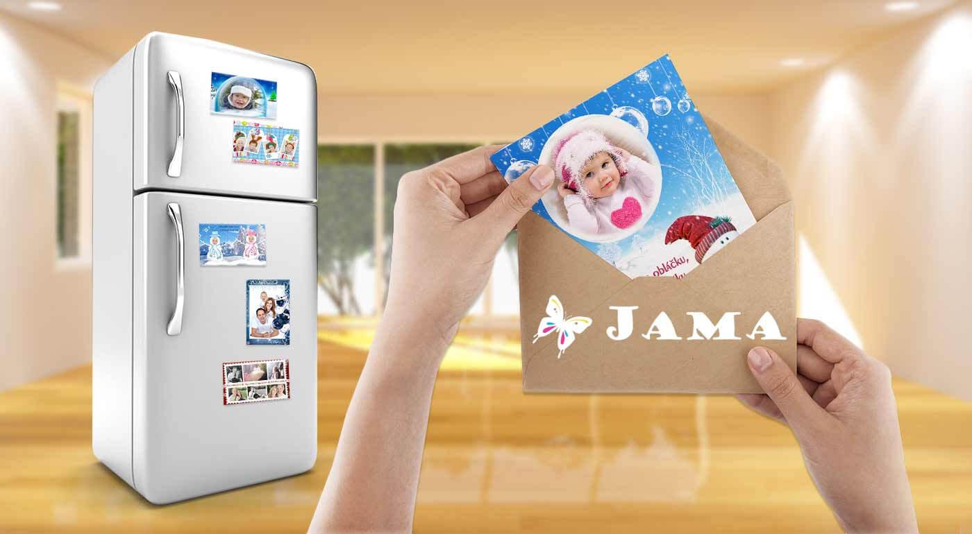 Vianočné magnetky, pohľadnice a pozdravy s vlastnými fotografiami na výber v niekoľkých motívoch