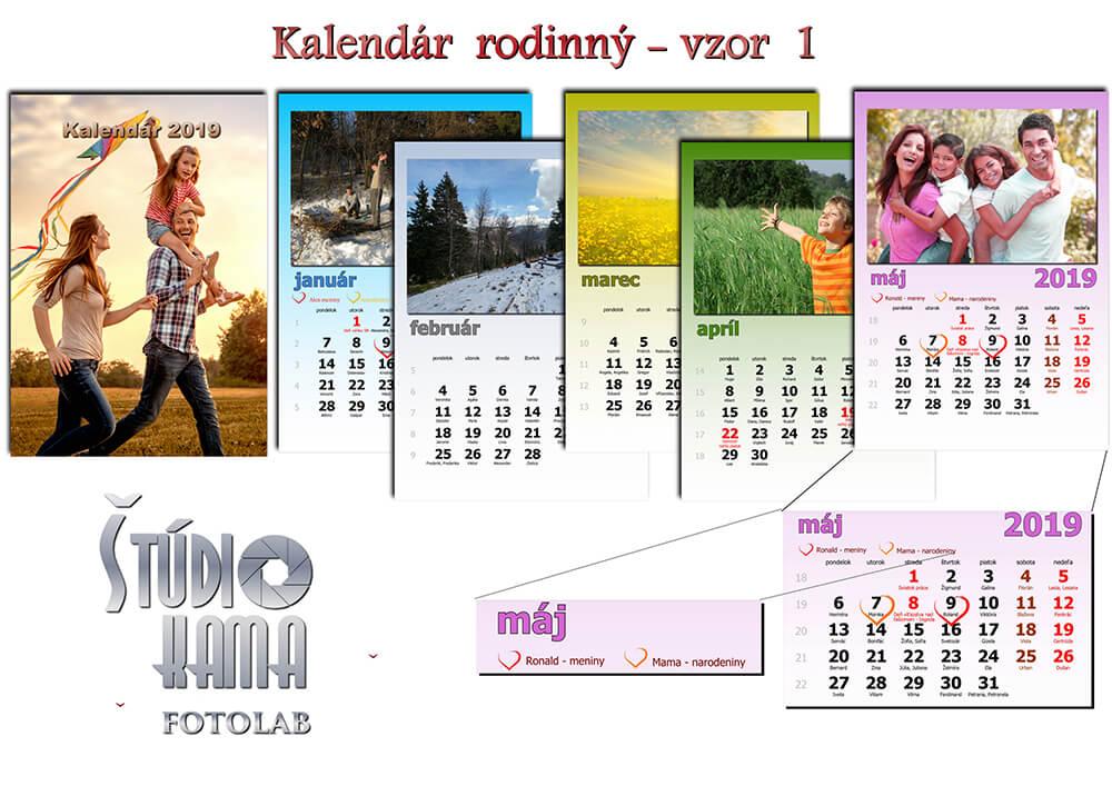 Fotoštúdio Kama: Nástenný kalendár s vlastnými fotografiami A4 (21x30 cm) - vzor 1 (farebný)