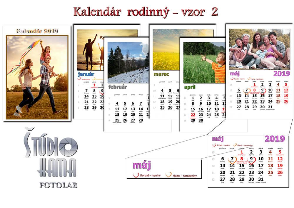 Fotoštúdio Kama: Nástenný kalendár s vlastnými fotografiami A4 (21x30 cm) - vzor 2 (biely)