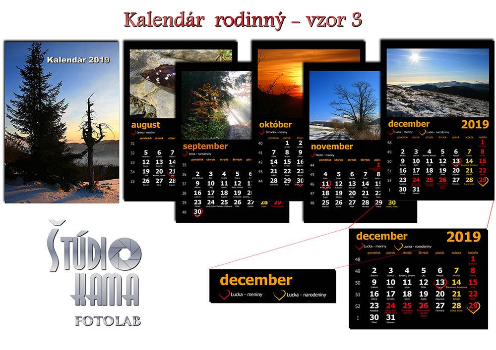 Fotoštúdio Kama: Nástenný kalendár s vlastnými fotografiami A4 (21x30 cm) - vzor 3 (čierny)