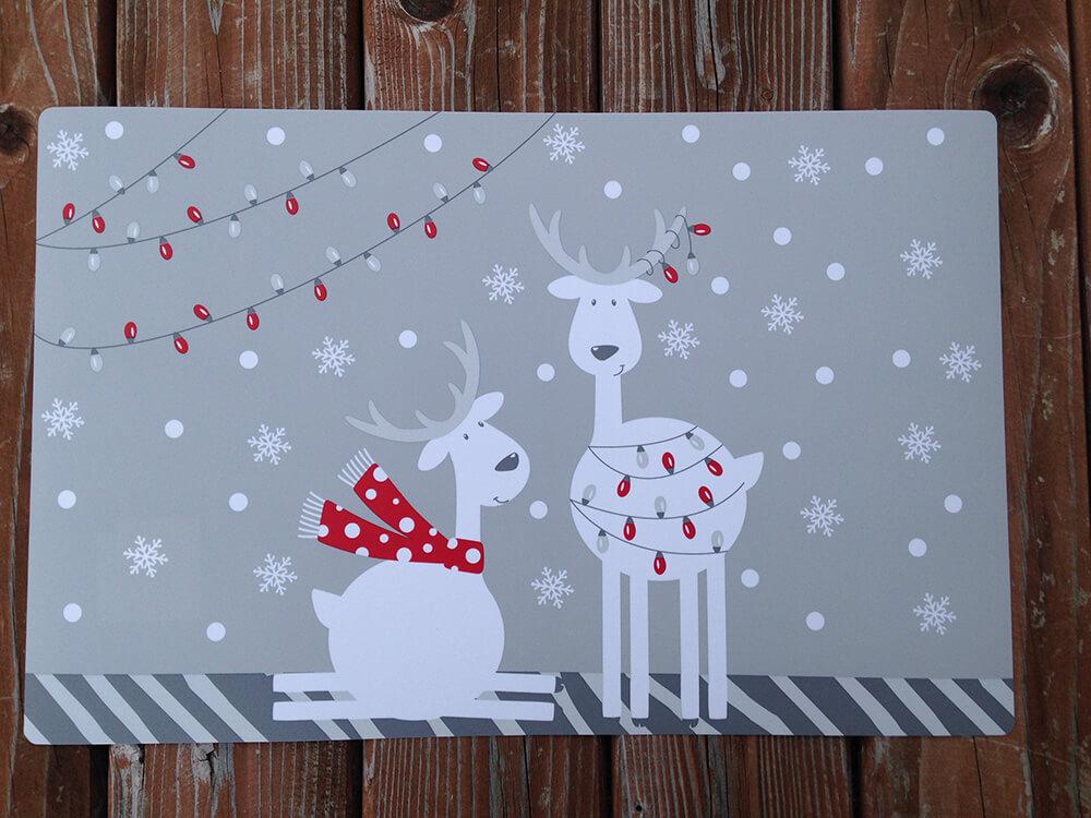Plastové vianočné prestieranie - sivé (2 ks)