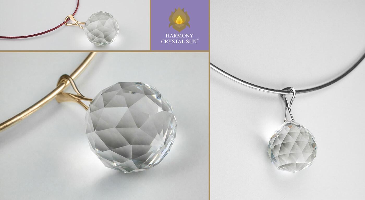Krištáľové šperky Harmony Crystal Sun so zlatým alebo strieborným náhrdelníkom