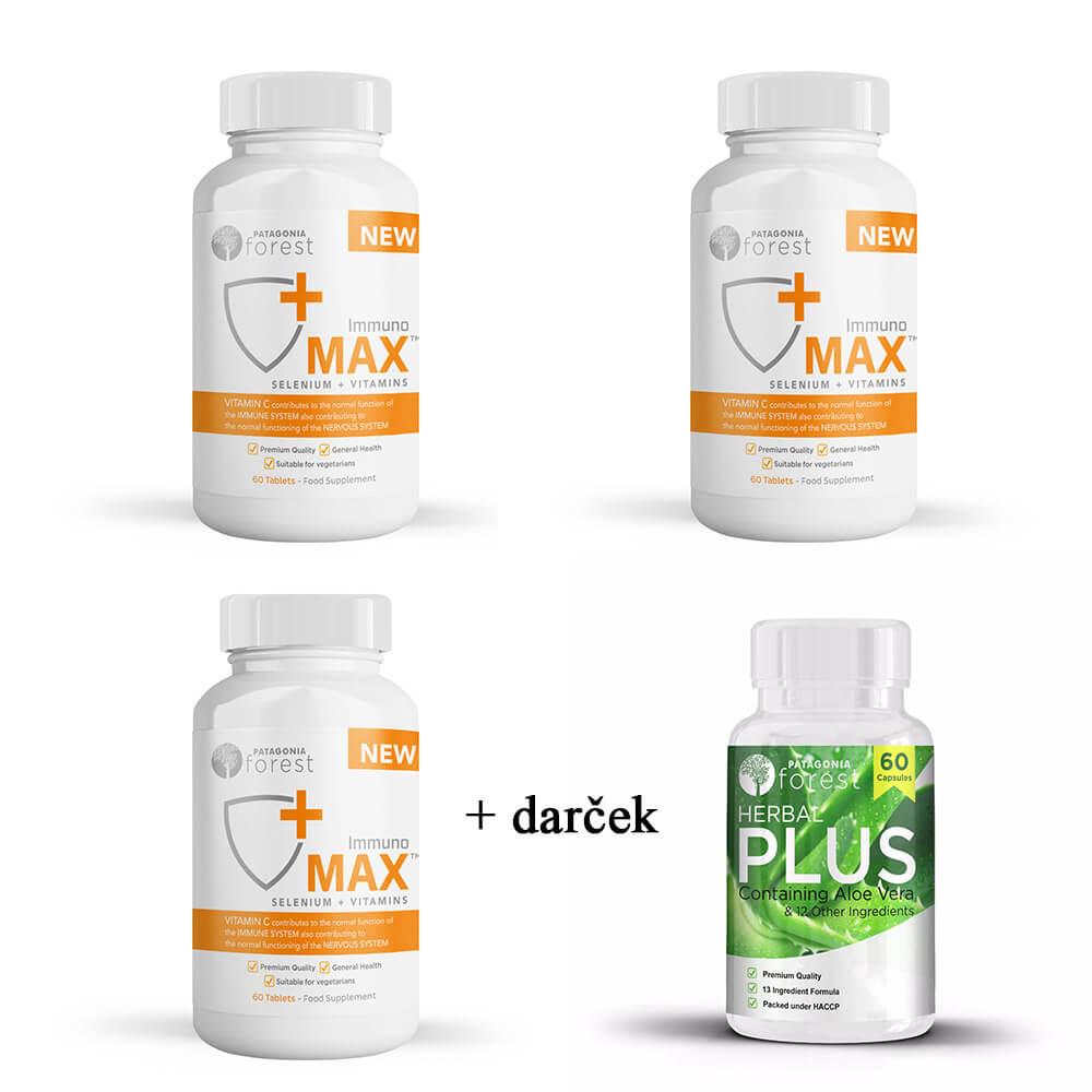 Patagonia Forest: 3x Immuno Max na ochranu organizmu (balenie 60 tabliet) + Herbal Plus Komplex 60 kapsúl ako DARČEK