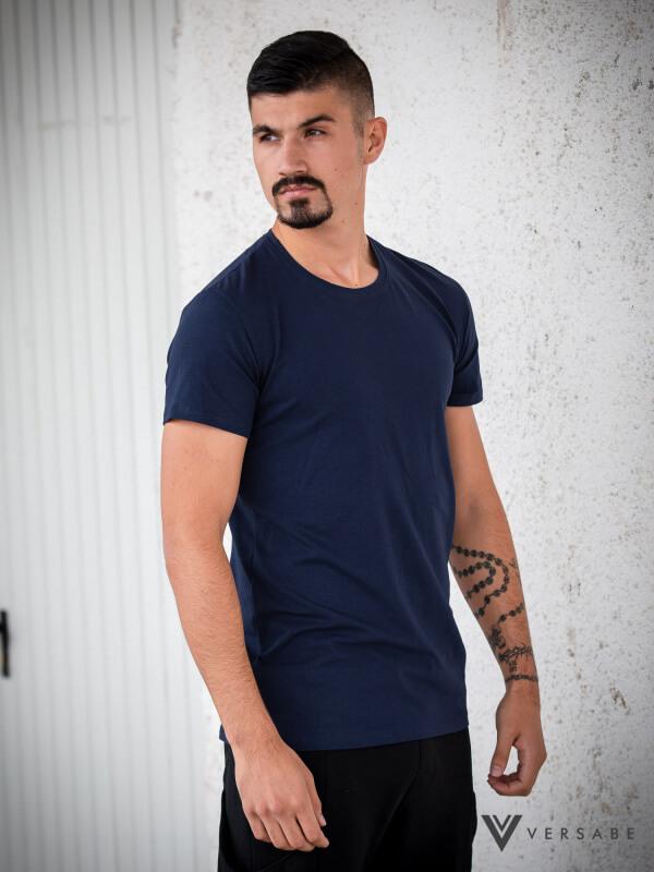 Versabe pánske tričko tmavomodré s okrúhlym výstrihom - veľkosť S