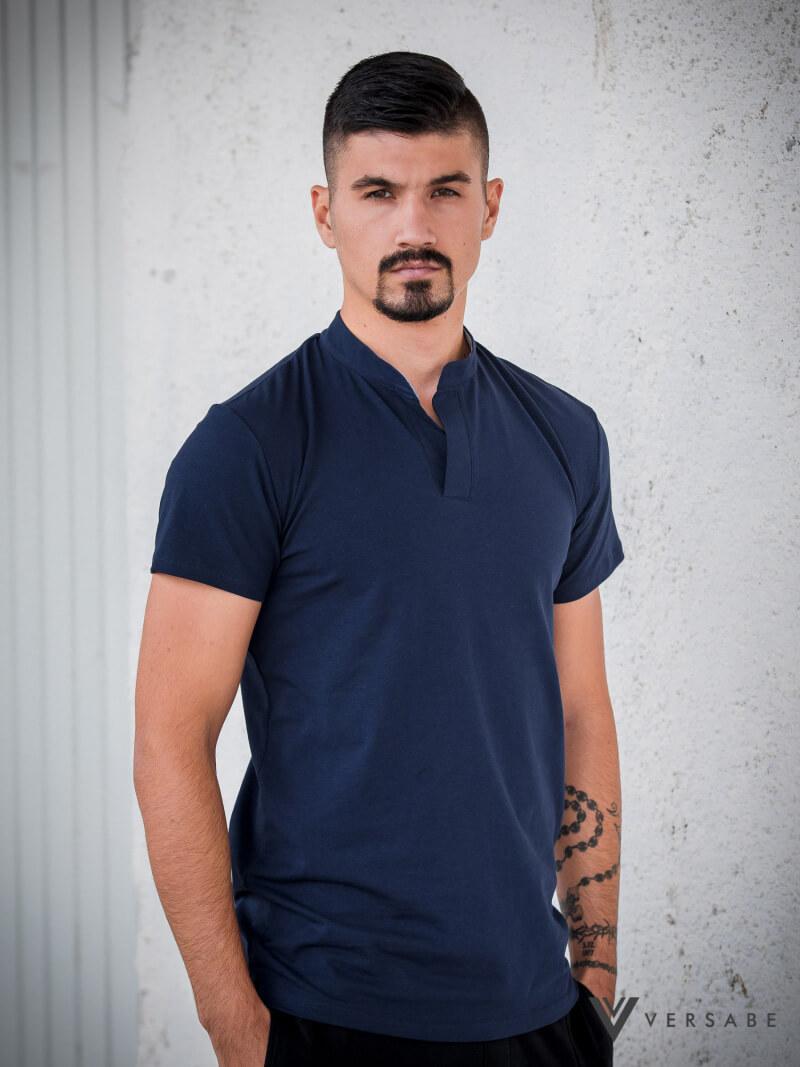 Versabe pánske tričko tmavomodré s prešitým véčkovým výstrihom - veľkosť S