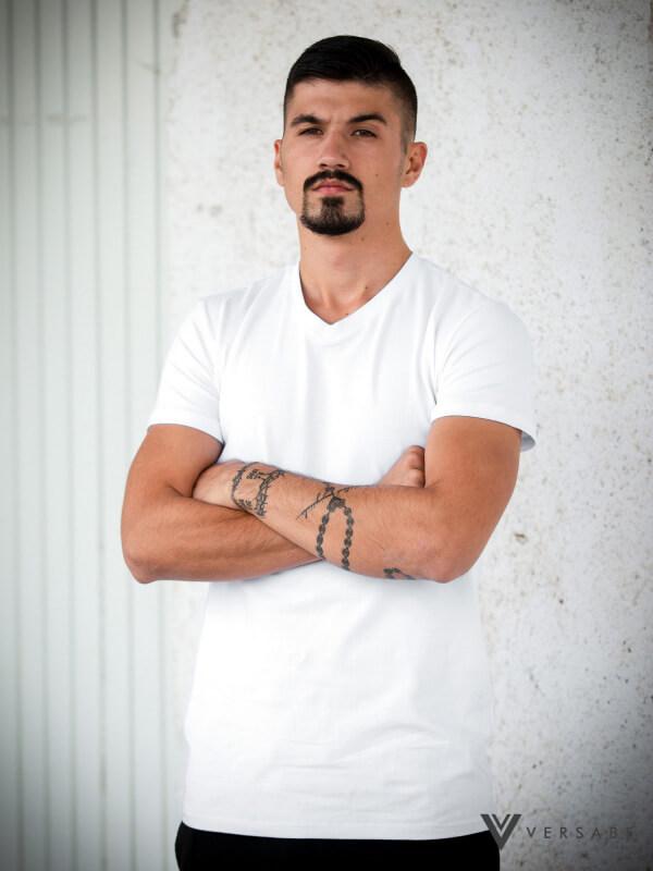 Versabe pánske tričko biele s véčkovým výstrihom - veľkosť S
