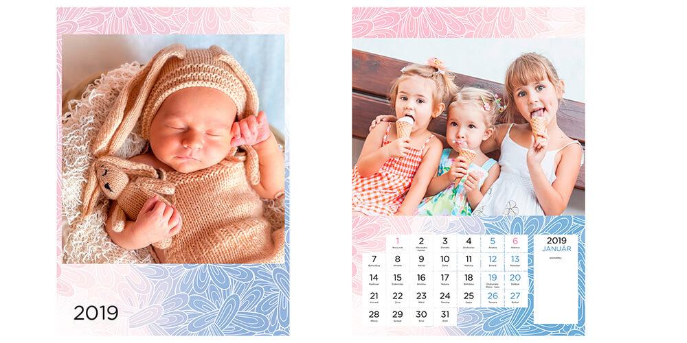 Graviprint, Bratislava: Nástenný kalendár A4 (12 strán + obálka + zadný biely list)  - detský