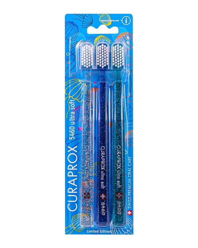 Curaprox zubné kefky - Medúzová edícia (5460 ultra soft - 3 ks v balení) - svetlomodrá