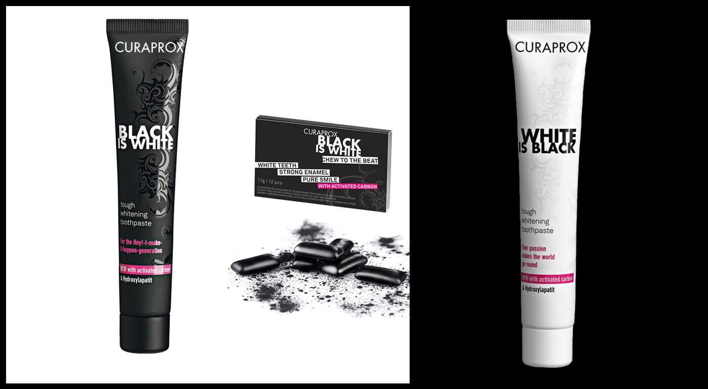 Kolekcia Black is White od Curaprox: čierna zubná pasta, výhodné sety so zubnou kefkou i bieliace žuvačky