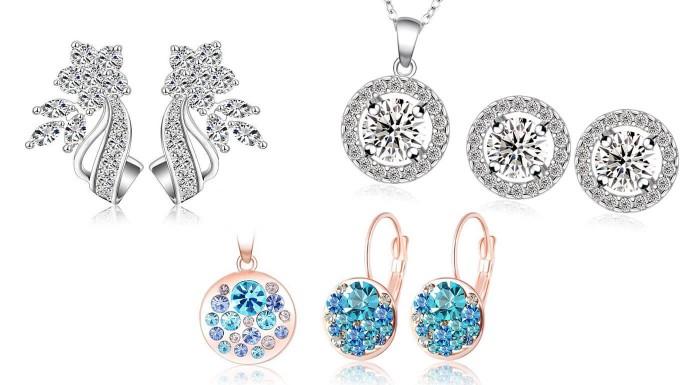 Štýl, elegancia a šarm - ozdobte seba a svoj outfit ligotavými šperkami s krištáľmi a zirkónmi, ktoré dokonale vyzdvihnú vašu krásu. Sety náušníc a náhrdelníka s krabičkou ZADARMO!
