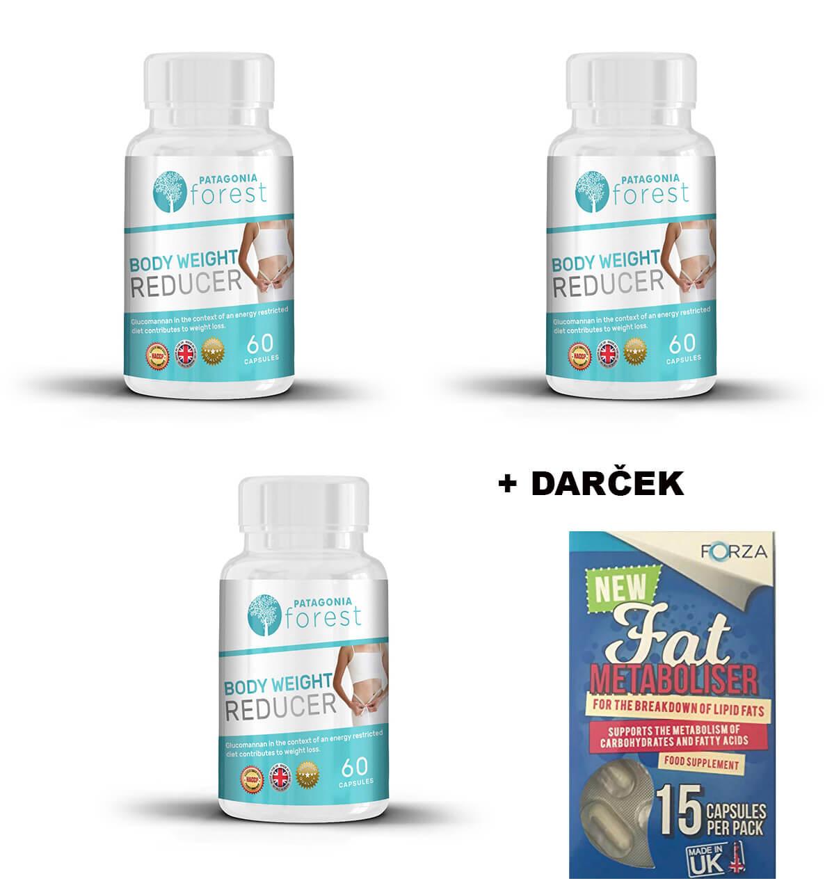 Patagonia Forest Body weight reducer - prírodná redukcia telesného tuku 3x 60 kapsúl + DARČEK Fat Metaboliser 15 kapsúl