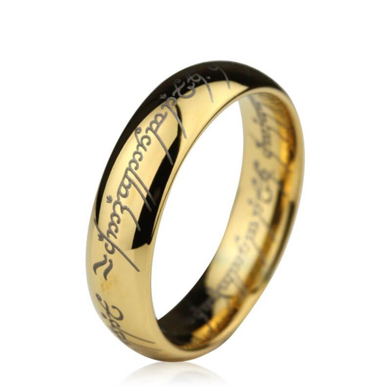 Wolfrámový prsteň Pán prsteňov pozlátený