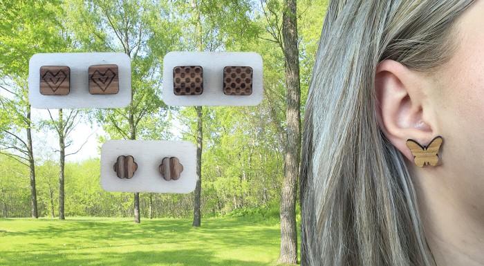 Drevené náušnice - ručne vyrobené na Slovensku