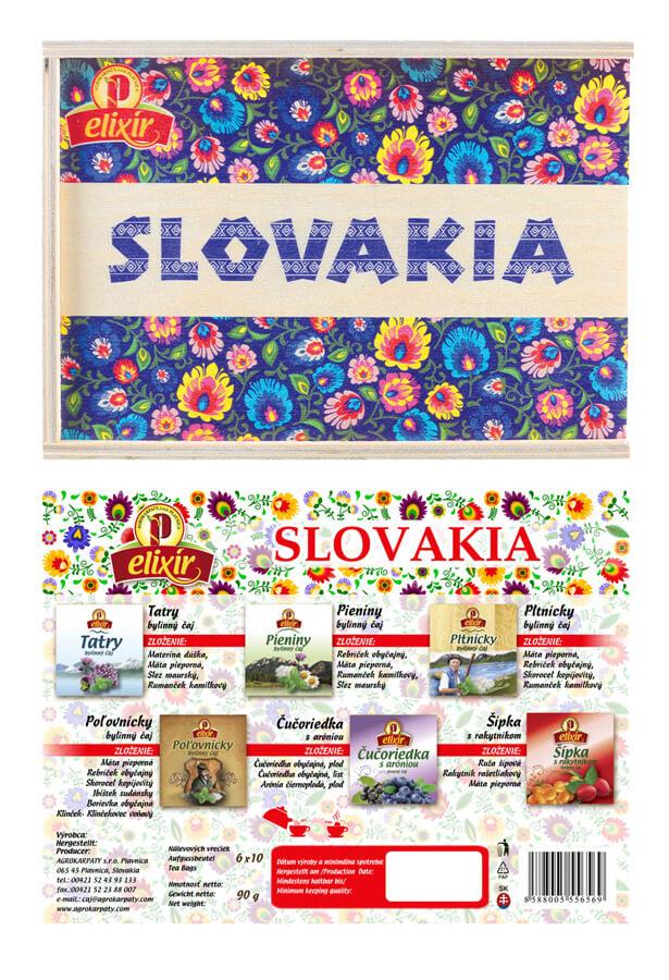 Drevená čajová kazeta Elixír Slovakia - modrý vzor (10x6 druhov čajov)