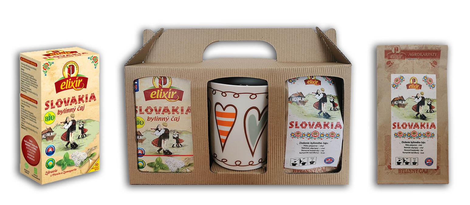Agrokarpaty Darčeková sada Slovakia s hrnčekom (sypaný čaj Slovakia a vrecúškový čaj Slovakia)