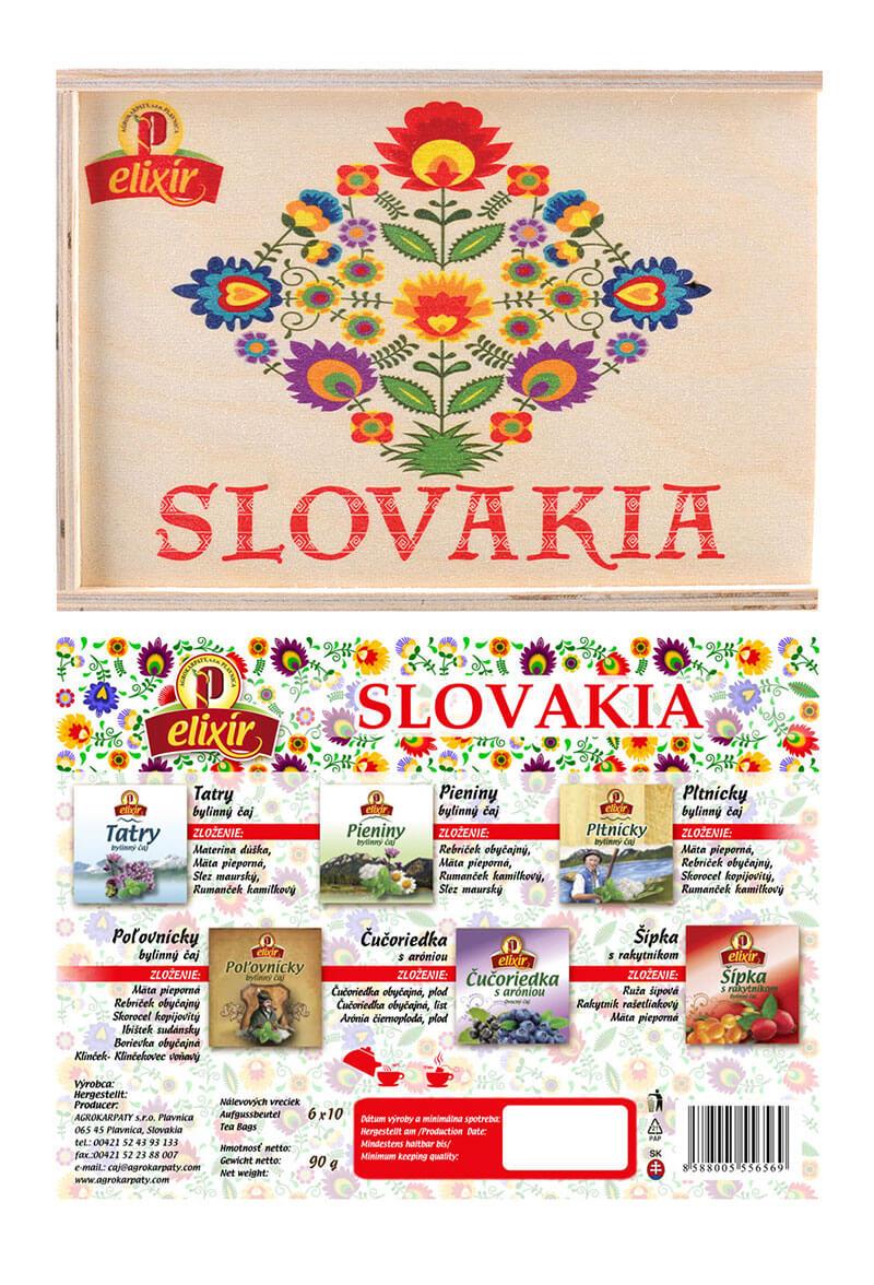 Agrokarpaty Slovakia Elixír drevená čajová kazeta - svetlý vzor (10x6 druhov čajov)