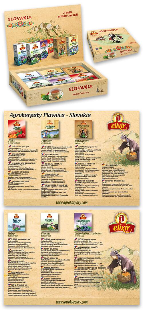Agrokarpaty Elixír Slovakia čajová kazeta (8x6 druhov čajov)